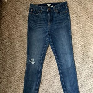 J. Crew High Rise Distressed Denim in Lighter Wash